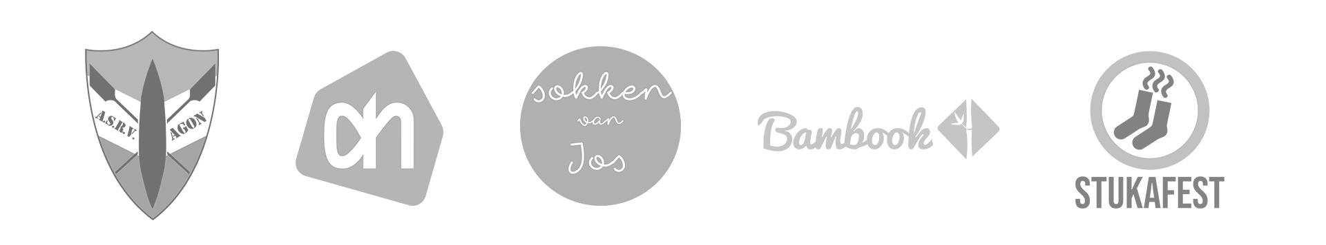 De logo's van ASRV Agon, Albert Heijn, Sokken van Jos, Bambook en Stukafest, een aantal van de bedrijven waar ik tot nu mee heb samengewerkt